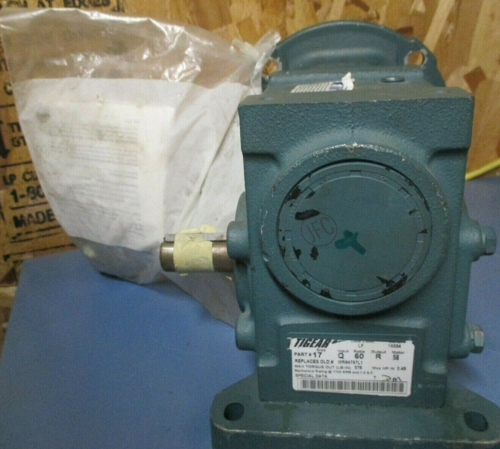 Dodge Tigear 2 Right Angle Worm Gear Speed Reducer; 60:1 Ratio 29 RPM 17Q60R56
