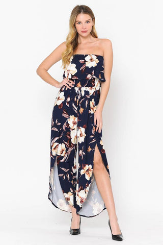 OFF SHOULDER RUFFLE WITH TULIP BOTTOM JUMPSUIT
