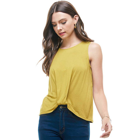 Sleeveless  Front Knot Top in Mustard