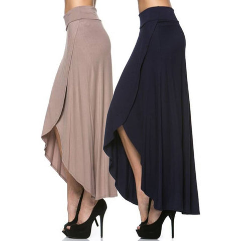 High-Low Side Slit Maxi Skirt in Black