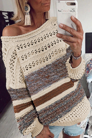 Pivot Special - Loose Openwork Round Neck Sweater