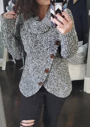 Heather Gray Buttoned Wrap Sweater