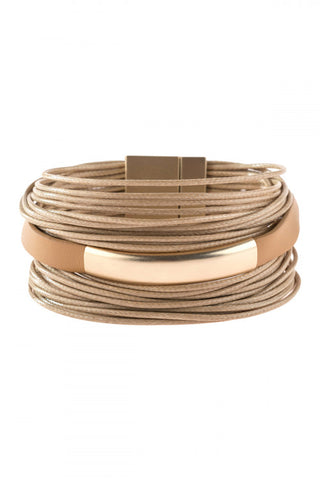 LIGHT BROWN MULTI STRAND WITH BAR LEATHER BRACELET
