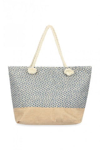 BLUE GEOMETRICAL PATTERN TOTE BAG