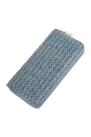 LIGHT BLUE CROCHET SINGLE ZIPPER WALLET