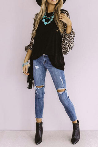 Leopard Sleeve Shift Top