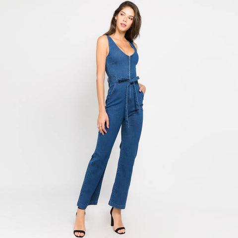 American Bazi - FRONT ZIP-UP DENIM JUMPSUITS WITH WAIST TIE