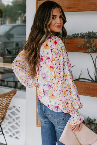 Monique Collection: Floral Smocked Blouse
