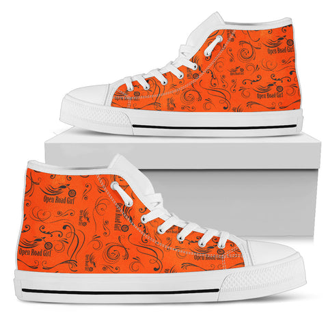 ORANGE Solid Scatter Design Open Road Girl White Sole Canvas Women's High Top - Jabrichank.com