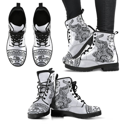 Black & White Elephant Handcrafted Boots - Jabrichank.com