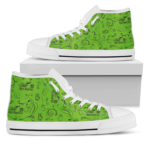 GREEN Solid Scatter Design Open Road Girl White Sole Canvas Women's High Top - Jabrichank.com