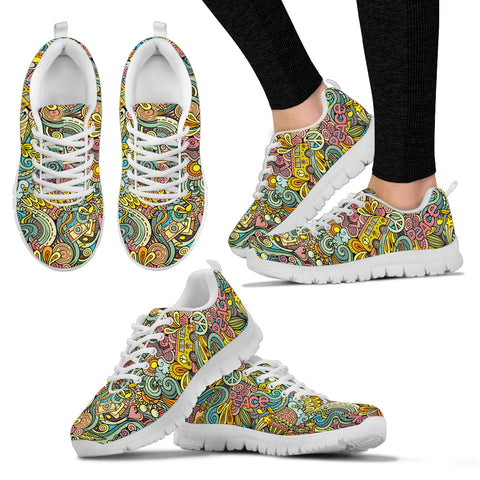 Hand Drawn Objects Hippie Sneakers. - Jabrichank.com