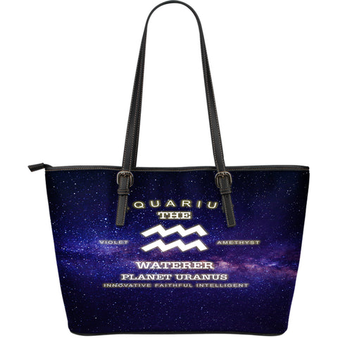 NP Zodiac Aquarius Leather Tote Bag - Jabrichank.com