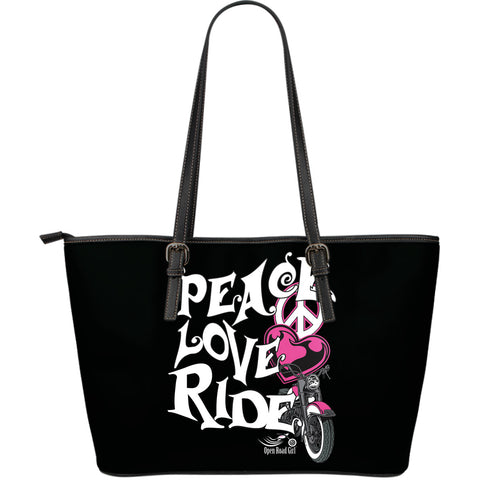 PINK Peace, Love, Ride LARGE PU LEATHER TOTE - Jabrichank.com