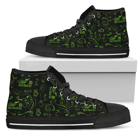 GREEN Scatter Design Open Road Girl Women's High Top - Jabrichank.com