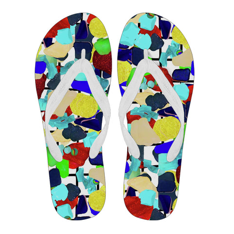"Sea Glass ""Far Away Places"" Flip Flops - Jabrichank.com"