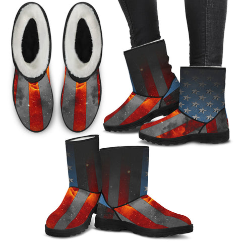American Space Flag Faux Fur Boots - Jabrichank.com