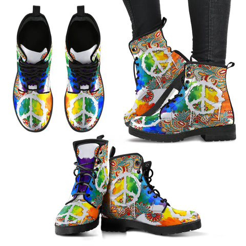 Colorful Peace Henna Handcrafted Boots - Jabrichank.com