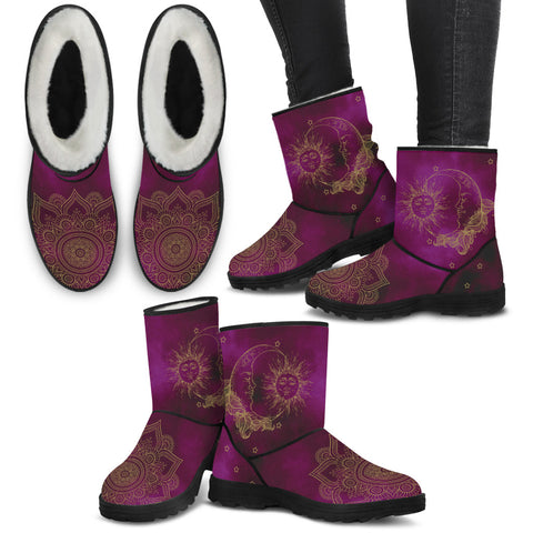 Sun & Moon Faux Fur Boots - Jabrichank.com