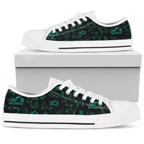 TEAL Scatter Design Open Road Girl Women's Low Top Shoe - Jabrichank.com