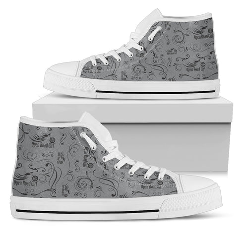 GREY Solid Scatter Design Open Road Girl White Sole Women's High Top - Jabrichank.com