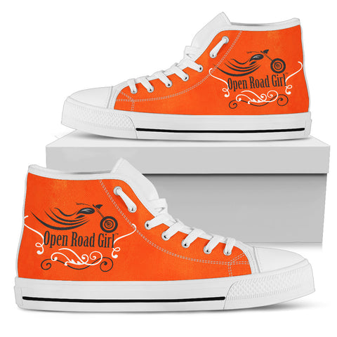 ORANGE Blue Swirl White Sole Open Road Girl Women's High Top - Jabrichank.com