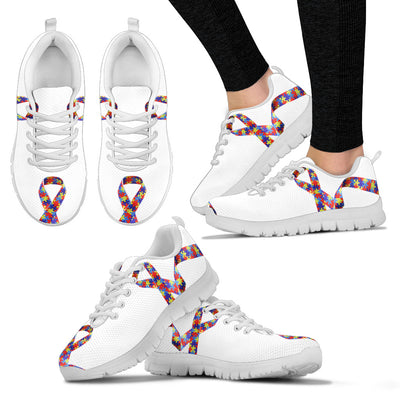 Womens Autism Awareness Ribbon Puzzle Sneakers. - Jabrichank.com