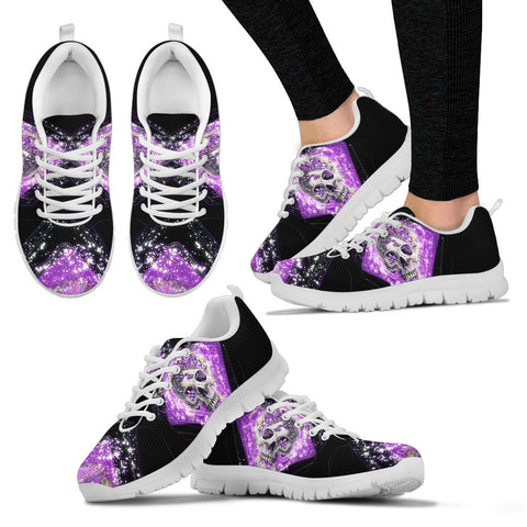 Purple Crystal Skull Hand Crafted Sneakers - Jabrichank.com
