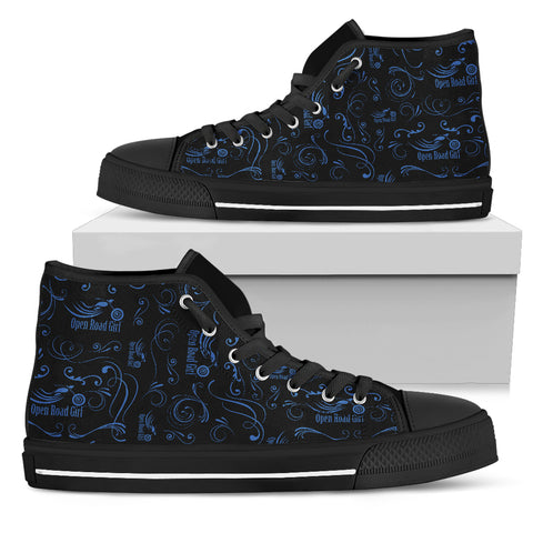 BLUE Scatter Design Open Road Girl Canvas Hi-Tops - Jabrichank.com