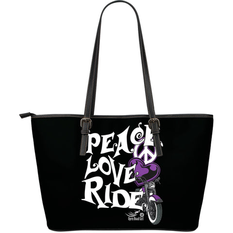PURPLE Peace, Love, Ride LARGE PU LEATHER TOTE - Jabrichank.com