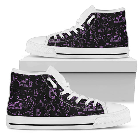 PURPLE Scatter Design Open Road Girl White Sole Women's High Top - Jabrichank.com