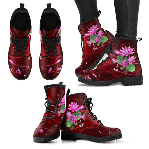 Dragonfly With Lotus Flower Handcrafted Boots V7 - Jabrichank.com