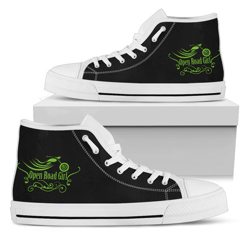 BLACK/GREEN White Sole Open Road Girl Swirl Women's High Top - Jabrichank.com