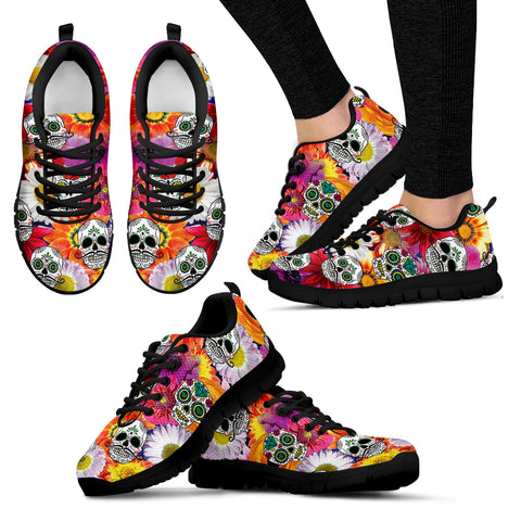 Flowers and Skulls Hand Crafted Sneakers. - Jabrichank.com