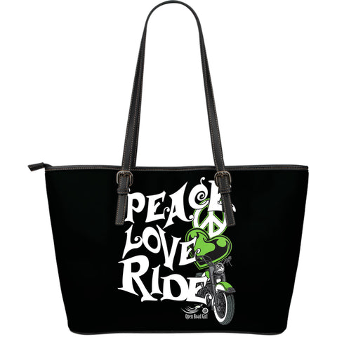 Peace, Love, Ride Large Leather Tote - Jabrichank.com