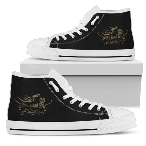 BLACK/GOLD White Sole Open Road Girl Swirl Women's High Top - Jabrichank.com