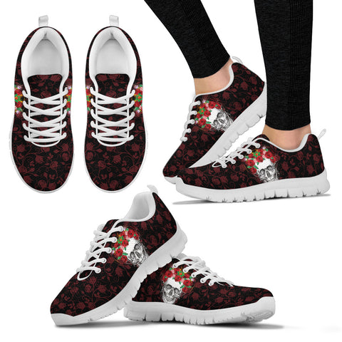 Flower Crown Skull Hand Crafted Sneakers. - Jabrichank.com