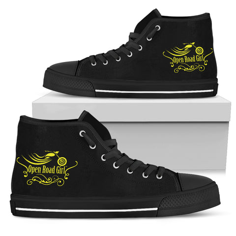 YELLOW/BLACK Swirl Open Road Girl Women's High Top - Jabrichank.com
