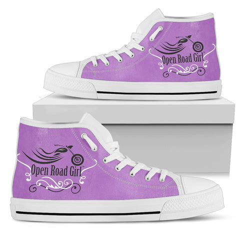 PURPLE Blue Swirl White Sole Open Road Girl Women's High Top - Jabrichank.com