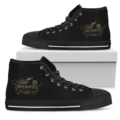 GOLD/BLACK Swirl Open Road Girl Women's High Top - Jabrichank.com