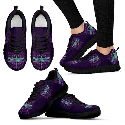 Purple and turqoise dragonfly black soles - Jabrichank.com