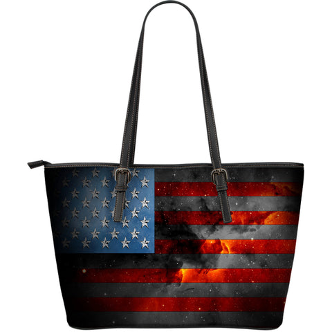 American Space Flag Leather Tote Bag - Jabrichank.com