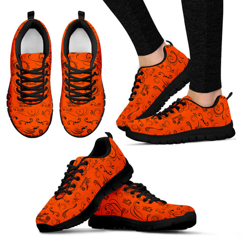 ORANGE Scatter Open Road Girl Women's Sneakers with Black Soles - Jabrichank.com
