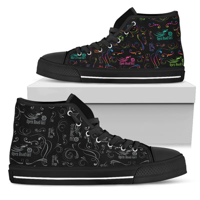 GREY Scatter Design Open Road Girl Canvas Women's High Top - Jabrichank.com
