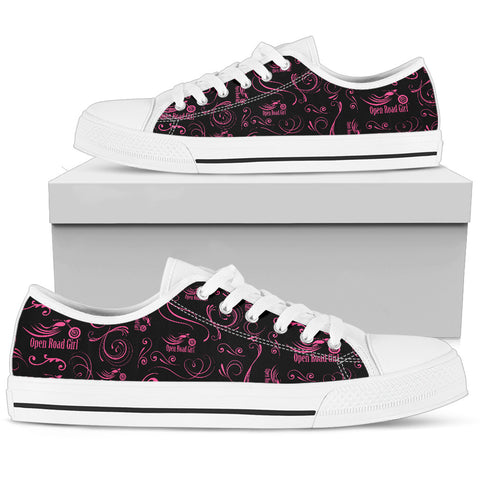 PINK Scatter Design Open Road Girl White Sole Women's Low Top Shoe - Jabrichank.com