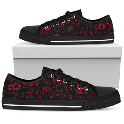 RED Scatter Design Open Road Girl Black Sole Women's Low Top Shoe - Jabrichank.com