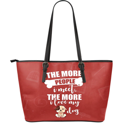 NP Love My Dog Leather H Tote Bag - Jabrichank.com