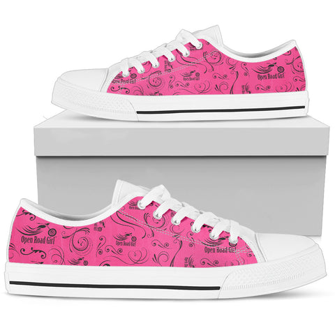 PINK Full Color Scatter Design Open Road Girl Women's Low Top Shoe - Jabrichank.com