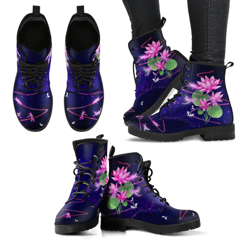 Dragonfly With Lotus Flower Handcrafted Boots V9 - Jabrichank.com