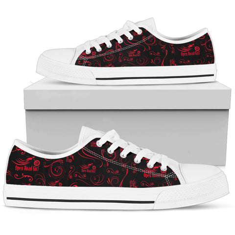 RED Scatter Design Open Road Girl White Sole Women's Low Top Shoe - Jabrichank.com